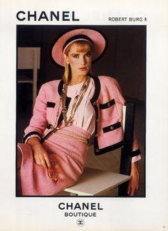 Chanel (Boutique) 1983 Tailor, Necklace, Belt in Pearls 80s pink black trim suit wool winter hat model