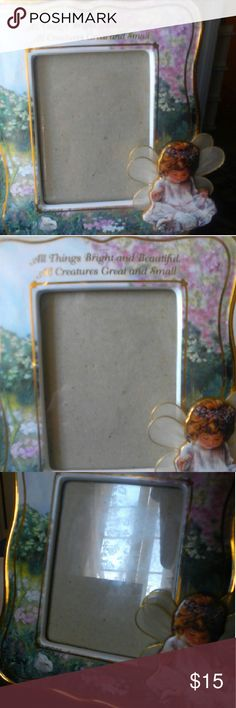 "All Things Bright & Beautiful photo frame Adorable 6"" x 7"" porcelain frame features a  3-D angel child; it will fit a 3' x 5"" picture. Other"