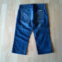"""CLEARANCE 3 for $10 / 2 for $7 William Rast Jeans These jeans were originally boot cut (Stella) but now hemmed to a crop/long Bermuda short. They are hemmed to a 16.5"""" inseam. Made of 98% cotton 2% spandex. The wash is Tanzanite. Overall these are in very good condition but there is a small distress like / light fading just below the right back pocket, see last pic William Rast Jeans"""