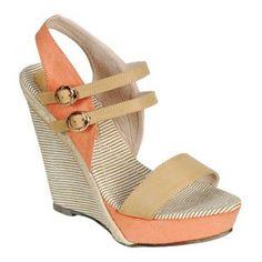 DANCE-01 Women Platform High-Heel Wedges - Beige/Orange