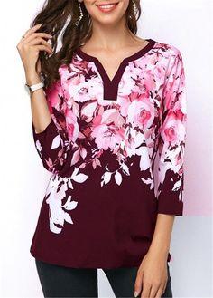 2855ce3bd25 Women Long Sleeve Loose Casual Flower Shirt Tops Fashion V-neck Chiffon  Blouse