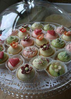 Mini Cakes by clarescupcakes. Tea Cakes, Mini Cakes, Fondant Cakes, Cupcake Cakes, Little Cakes, Small Cake, Occasion Cakes, Mini Desserts, Pretty Cakes