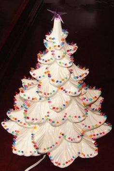Ceramic Christmas Tree -- love this one, it reminds me of a Christmas cookie Vintage Ceramic Christmas Tree, Christmas Tree Art, Cozy Christmas, Christmas Music, Christmas Crafts, Christmas Decorations, Xmas Trees, Christmas Ornaments, Favorite Christmas Songs