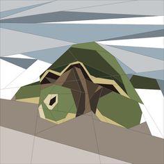 "Jan '15 Turtle  - BoM Paper Piecing 14"" quiltartdesigns.blogspot.com"