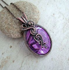 Wire Wrap Necklace Unique Jewelry Purple Jewelry Purple