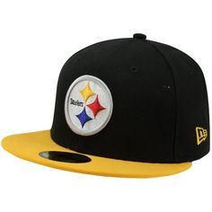 NFL Pittsburgh Steelers Black and Team Color 59Fifty Fitted Cap by New Era. $11.80. Show Your Team Spirit with This National Football League 59Fifty Fitted Cap. Features An Embroidered (Raised) Team Logo At Front, A Stitched New Era Flag At Wearer'S Left Side. Interior Includes Branded Taping and A Moisture Absorbing Sweatband. Fitted, Closed Back.