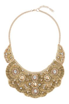 Beaded Bib Necklace // Gold Trend