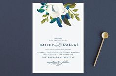 """""""Our Something Blue"""" - Wedding Invitations in Ocean by AK Graphics.  http://shopstyle.it/l/e49o"""