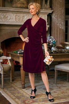 $49.95 Velvet Shapely Surplice Dress from Soft Surroundings machine washable!!