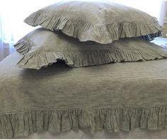 striped ruffle bedding