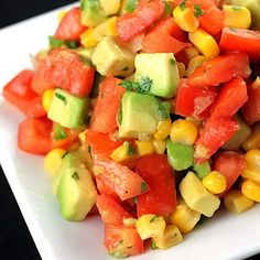 Tomato, Corn, Avocado Salsa. Black beans and peppers would be tasty in it, as well!
