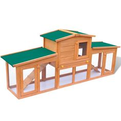 Large Wooden Hutch House Enclosure Cage Covered Rabbits Guinea Pigs Ferrets