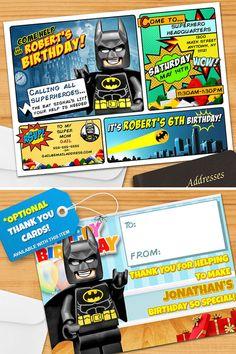 Superhero Invitation - Personalized, LEGO® Batman Birthday Invitation  PRINTABLE, DIGITAL, KIDS BIRTHDAY PARTY INVITATION: Unique... Original...