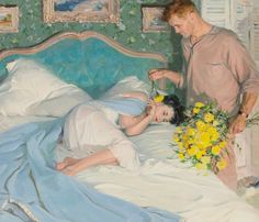 View Day of Yellow Flowers, McCalls magazine interior story illustration by Tom Lovell on artnet. Browse upcoming and past auction lots by Tom Lovell. Art And Illustration, Tom Lovell, Art Romantique, Figurative Kunst, Romance Art, Pulp Art, Retro, Yellow Flowers, Exotic Flowers