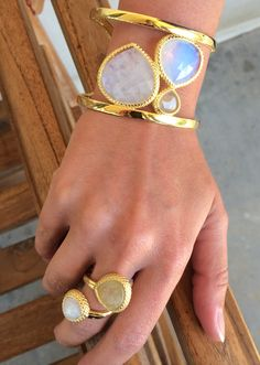 Coralia Leetes Jewelry/Sarah Carolyn - gorgeous moonstone and gold rutilated quartz cuff and ring #stunning #statement #ootd