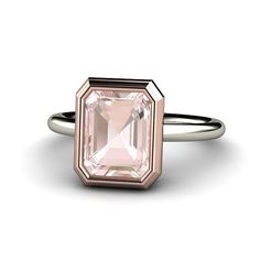 14K TwoTone Morganite Engagement Ring Bezel Solitaire by Rare Earth Jewelry, $985.00
