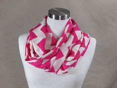 Infinity Scarf in Pink and White Chevron Handmade Lightweight Scarf Spring Scarf Summer Scarf