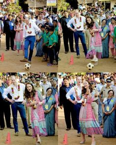 The Duke and Duchess of Cambridge play football games during a visit to the Banganga Water tank, where they met representatives of SMILE during the royal visit to India and Bhutan on April 10, 2016 in Mumbai, India.