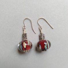 Boucles d'oreilles, perles de verre et argent 925. Création originale.