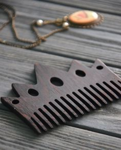 Crown women wooden hair comb Wenge wood Gift idea for Her Mom Girlfriend Woman