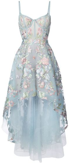 Marchesa Notte floral embroidered high-low dress