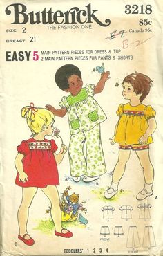 Butterick 3218 1970s Toddlers Easy Dress Top Pants and Shorts vintage sewing pattern by mbchills