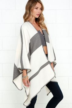Grey and Ivory Striped Poncho