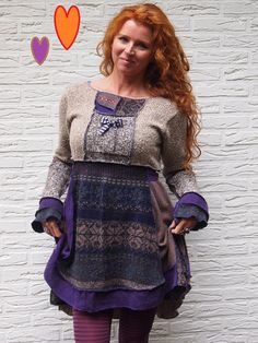 Super Comfy TwirlDress, Upcycled and One-Of-A-Kind.  Awesome all by itself, or worn over some leggings or jeans.Featuring a tie belt and patchwork