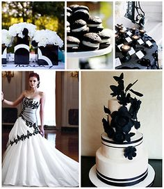 Classic black and white…the most popular wedding color scheme. How can you go wrong with this combination? Adding a few pops of color puts a nice spin on it too.