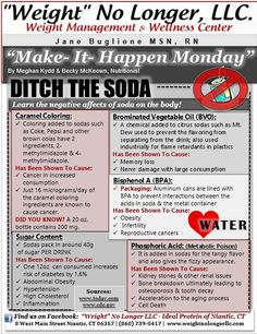 Make It Happen Monday: Ditch the Soda! Learn the negatives of drinking soda below! #RethinkYourDrink -- Ideal Protein -- Weight loss -- Weight No Longer llc
