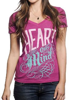 Heart Over Mind t-shirt, proceeds go to victims of domestic violence.