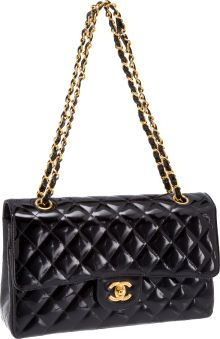 Heritage Vintage: Chanel Special Black Patent Leather Classic Quilted Double Flap Bag