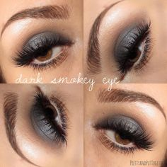 "pretty & put together on Instagram: ""Dark Smokey Eye look  I only used blue eyeshadows but it looks grey for some reason! @makeupgeekcosmetics Peach Smoothie, Chickadee, Cupcake, Cocoa Bear, Americano, Whimsical, Bling, and the star... Houdini  Also added Makeup Geek's Sparkler in Light Year to the center of the lid ✨ @anastasiabeverlyhills Dragon Fly and Mermaid @toofaced Glitter Glue @lashesbylena Bianca @benefitcosmetics Gimme Brow and @anastasiabeverlyhills Dipbrow in Dark Brown"