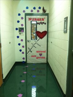 my school nurses hallway path and door...feb 2013
