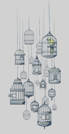Not the drawing... But I was thinking it would be so cute to hang cute birdcages of all sizes from the ceiling like this (maybe in a bathroom or over the dining room table or a library) and place little tap-lights or votive candles in them! But you're probably sick of birdcages by now....