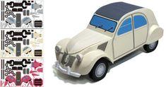 Papercraft imprimible y armable del coche Citroen 2CV. Manualidades a Raudales.