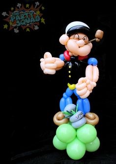 Popeye Balloon Twisting twisted by Ditzy Doodles of The Party Squad http://www.thepartysquad.co.uk/ http://www.facebook.com/ThePartySquadUK/