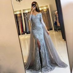 On Sale Luscious Prom Dresses Lace Mermaid Silver Prom Dress Lace Long Sleeve Prom Dress Elegant Party Dresses, Prom Dresses 2018, Prom Party Dresses, Formal Dresses, Party Gowns, Gowns 2017, Bridesmaid Dresses, Bling Prom Dresses, Wedding Dresses