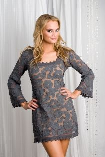 letarte Lace Dress, Charcoal