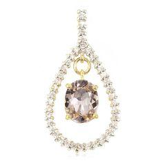 Pendentif en or sertie d'une Morganite et de Saphirs blancs - Bijoux de mariage - Juwelo Bijouterie en Ligne