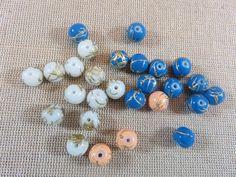 Perles en verre tréfilé doré, lot mixte, perles 8mm, perles de verre 8mm, lot 27 perles, perles tréfilé doré, perles pour bijoux de la boutique ArtKen6L sur Etsy
