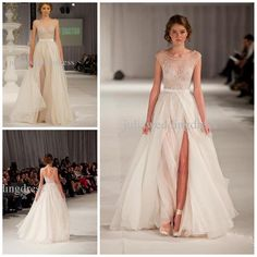2014 Fashion Elie Saab Runway Sheer Sexy Cap Sleeve Evening Dresses Backless Beaded High side Slit Long Party Formal Dresses Sale