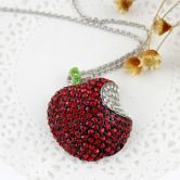 Red White Crystal Apple Necklace - Sheinside.com