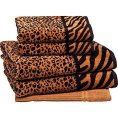 #JogodeToalha Banhão #Onça 5 Peças - #CasaeConforto - duas toalhas de banho gigantes, duas toalhas de rosto e uma toalha de piso.CLIQUE NA FOTO E CONFIRA!  #AnimalPrint