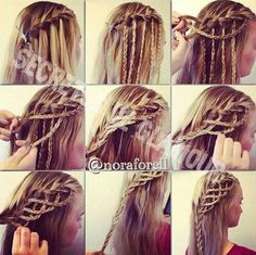 Start with a waterfall braid, take the pieces that hang down and braid them. Continue with a french braid using the braids hanging from the waterfall braid as your added in sections. Gorgeous results..