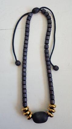"Finnish Aarikka wooden necklace ""Marita"" from the Wooden Necklace, Wooden Jewelry, Beaded Necklace, Metal Beads, Wooden Beads, Wooden Crosses, Etsy, Vintage, Beaded Collar"