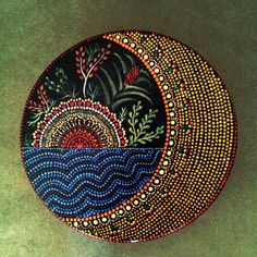 Sun Moon Ocean Hand painted round wooden box by DotsMania on Etsy, $25.00