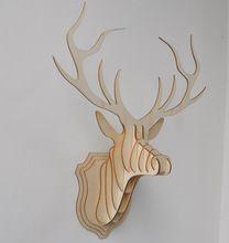 Forme de placage bois Vintage bois cage embellissement artisanat produits en bois deer Head bricolage WF106(China (Mainland))