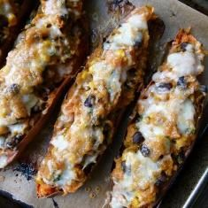 Tex-mex Stuffed Sweet Potato Skins (via www.foodily.com/r/53fd9dea70-tex-mex-stuffed-sweet-potato-skins-by-pamela-salzman)