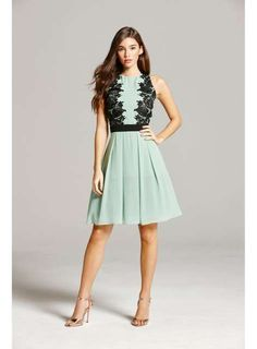 **Little Mistress Sage Lace Prom Dress - View All Dresses - Dresses - Dorothy Perkins United States